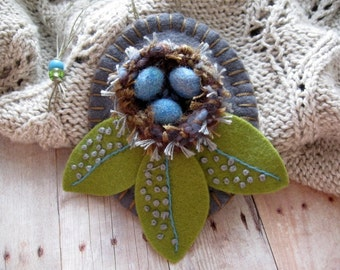 Robin Nest Ornament - Ready to Ship Embroidered Fiber Art