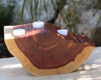 """Candle, Votive Holder, freeform wood slice, rustic home, wedding, reclaimed Texas Red Cedar, 11"""" w x 6"""" tall, 4"""" thick"""