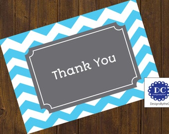 Blue Chevron Thank You Cards, Thank You Cards,  Chevron, Blue Chevron, Blue and Gray, Baby Shower - Instant Download