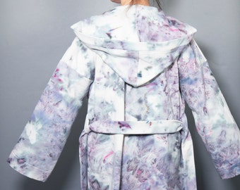 Ice Dyed Organic Cotton Hooded Cardigan