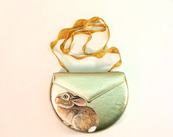 Sale Hiding Baby Cottontail Rabbit purse - handpainted vintage gold leather Sondra Roberts semi circlular boxy with gold mesh ribbon strap,