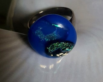Fused glass ring, Adjustable ring, small glass ring, by Styx