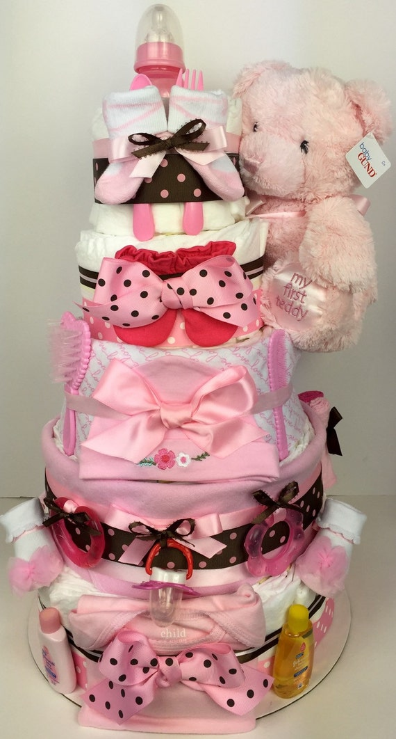 Baby Shower Cakes San Jose ~ Girl diaper cake pink baby by