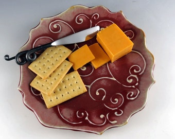 Pottery Plate, Red Serving Plate, Cheese Plate, Handmade Plate - Decorative Plate, Hostess Gift, Mother's Day, Comes with Spreader, 527