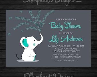 Baby elephant Baby Shower Invitation, teal, turquoise, aqua, baby sprinkle, elephant invitation, custom invite, digital file, DIY Printable