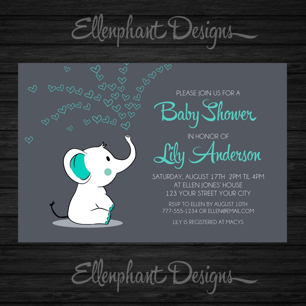 baby elephant baby shower invitation teal turquoise aqua