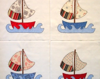 Red White and Blue Sailboats Appliqued Quilt Blocks