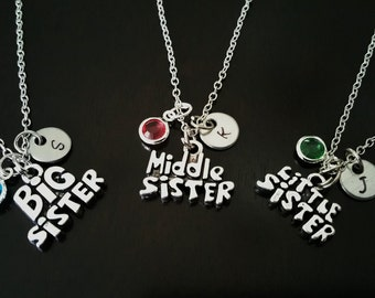 Set of Three Big Sister Middle Sister Little Sister Personalized Hand stamped Sister Gift Idea Necklaces