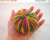 ON SALE Knitted Ball, Waldorf Ball, Ball, Toy, Knit, Rainbow, Rainbow Yarn, Plant Dyed Wool Yarn, Wool Stuffied, All Natural, Baby Gift
