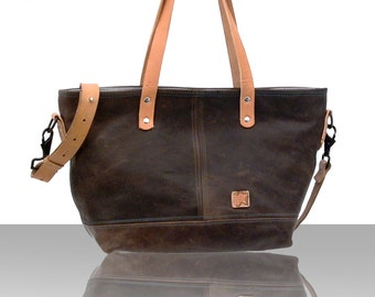 Brown Leather Handbag, Brown Leather Crossbody Bag, Designer Handbag, Recycled Leather Jacket / Upcycled and Handmade in GERMANY - 2158