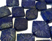 Lapis carved diamond shaped flowers side drilled 5 piece lot hand carved matte finish