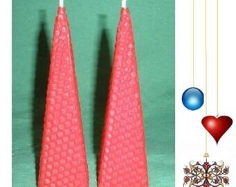 Elegant Pyramid Beeswax Candles. Set of 2