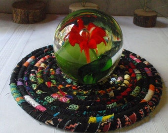 Coiled Hot Pad, Trivet, Candle Mat, Lamp Mat - Black Bohemian - Handmade by Me
