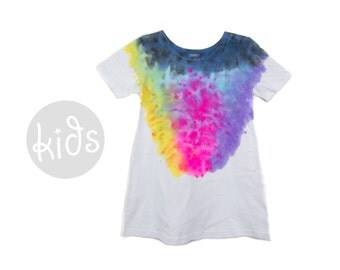 "Spectrum Rainbow Dress - Original ""Splash Dyed"" Scoop Neck Short Sleeve Play Tunic Tee Dress in White - Girls Size Toddler & Youth"