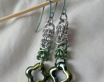 Green Ombre - drop earrings