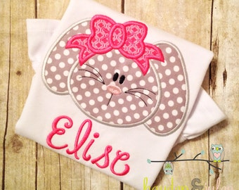 Easter Bunny with Bow Applique Shirt - Personalized, Monogrammed