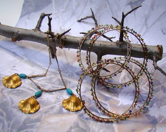 Shell & Turquoise Bead Necklace Delicate Unique Chain Perfect Summer Fun - PLUS BONUS :)