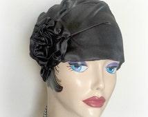 Black Satin Cloche - Flapper Hats - Turban Style Hat - Ladies Vintage Hat - 1920's Hats - Elegant Hat - Stylish Evening Hats - Handmade USA