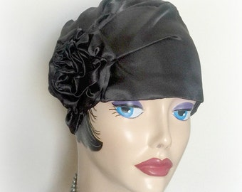 Black Satin Cloche - Flapper Hats - Turban Style Hat - Ladies Vintage Hat - 1920's Hats - Elegant Hat - Stylish Evening Hats - Handmade USA