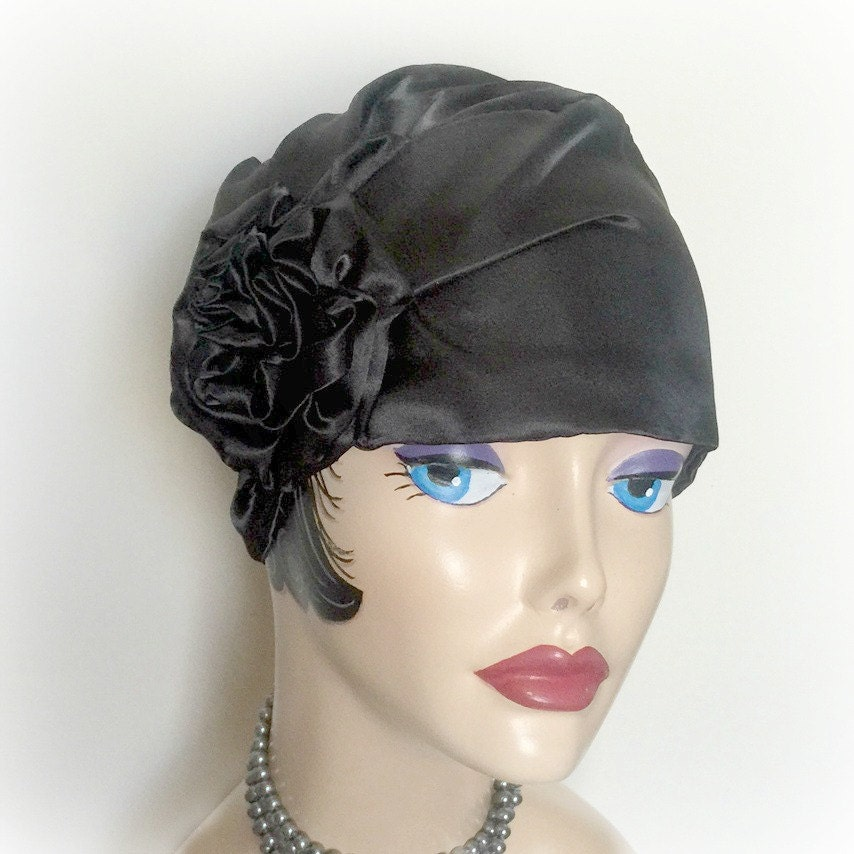 Black Satin Cloche Flapper Hats Turban Style Hat Ladies