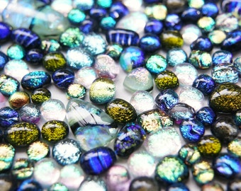 Lot of 170 Dichroic Fused Glass Beads Cabs Cabochons