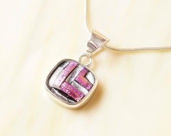 Dichroic Fused Glass Sterling Silver .925 Necklace with Chain