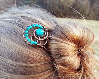 Statement hair stick Metal hair fork Green hair stick Copper slide Boho accessories Rustic copper Bun holder Women gift Women accessories