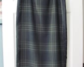 "Vintage Talbots Plaid Wrap-Around Maxi Skirt, 100% Wool, Polyester Lining, Charcoal Gray, Brown Stripes Tan Light Beige, Size 14, 32"" Waist"