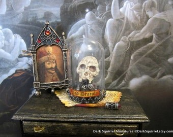 Vlad Dracula Vampire skull dollhouse miniature, gothic, spooky, haunted, Halloween, vampyre in 1/12 scale