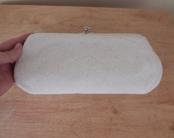 Beaded bridal clutch, vintage white clutch
