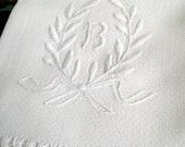 Vintage MONOGRAM B White Irish Linen DAMASK Tablecloth & 3 tea/dish Towels