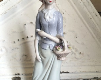 Vintage Victorian Woman Porcelain Long dress with basket of Flowers Blue & White