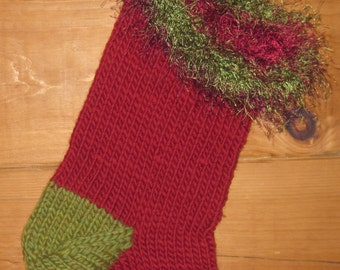 ON SALE!! Hand Knit Christmas Stocking Chunky Wool With Fun Fur Top 19 Inches Free US Shipping!
