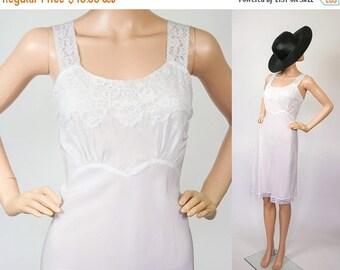 1940s Slip Dress / 40s  Lace Lingerie Undergarment / Full Slip Extender / White / Bridal / Vintage Wedding / Old Hollywood Nightie / Small