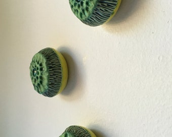 Matte Moss Green  and Chartreuse Anemone Bloom Pod Trio