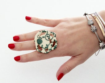 Boho Ring, Ceramic Jewelry Cocktail Ring  - big ring, ceramic and pottery, handmade ring by StudioLeanne, boho ring, cocktail ring