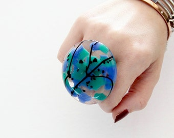 Marble Ring, Cocktail Ring, New Year Fashion Glass Art  - Summer Celebrations, big ring, unique ring, statement ring, handmade ring