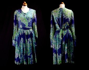 Original Vintage 1960s Blue Silk Chiffon Boho Dress - Medium - FREE SHIPPING WORLDWIDE