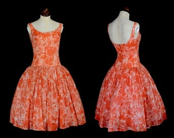 Original Vintage 1950s Orange Party Dress - Small - FREE SHIPPING WORLDWIDE