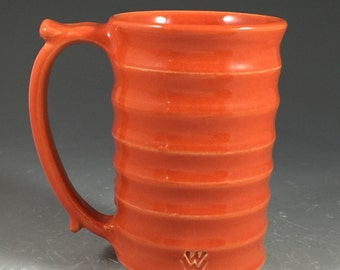 Wheel Thrown Mug with Grooved Texture in Tangerine Orange Glazes