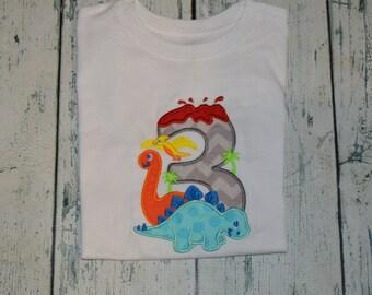 PERSONALIZED Dinosaur Birthday Shirt  Monogrammed 3rd birthday