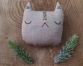 Mini cat pillow, handmade cat stuffed pillow, cat plushie, cat softie, heriloom cat pillow, gifts for kids, gifts under 40