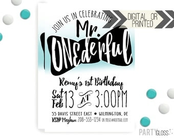 Mr. ONEderful Bow Tie  Invitation | Digital or Printed | Black Aqua Invitation | Mr. Wonderful Invitation |  Onederful Invite | Little Man