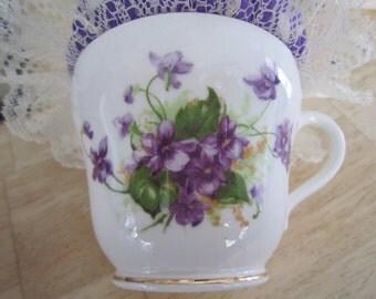 Purple Floral Vintage Teacup Pincushion