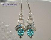 Cream Pearl Aquamarine Black Diamond Swarovski Dangling Pair of Earrings- ready to ship- gift for bridesmaid, maid of honor,wedding,birthday