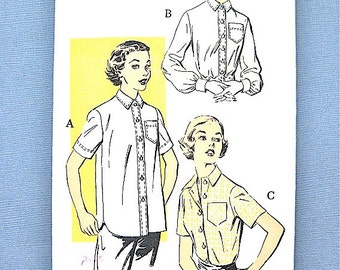 Vintage 1950s sewing pattern by New York Pattern 1560 Vintage 50s Blouse Pattern   Bust 31 inches