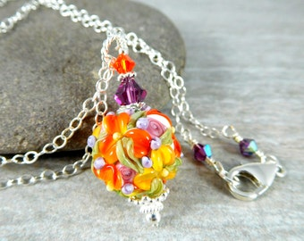 Colorful Fall Floral Necklace, Autumn Jewlery, Orange Yellow Purple Glass Bead Necklace, Flower Jewelry, Botanical Nature, Lampwork Pendant