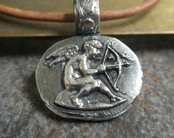 Silver Cupid Pendant Eros Mythology Jewelry