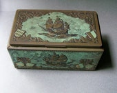 Vintage Rectangular Tin Box ~ Small Item Storage ~ Decorative Treasure Chest ~ Brass & Verdigris Coloration