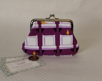 Coin purse - Change Purse - White Chair Yellow Bird Coin Purse - Purple Change Purse - Kiss Lock Coin Purse